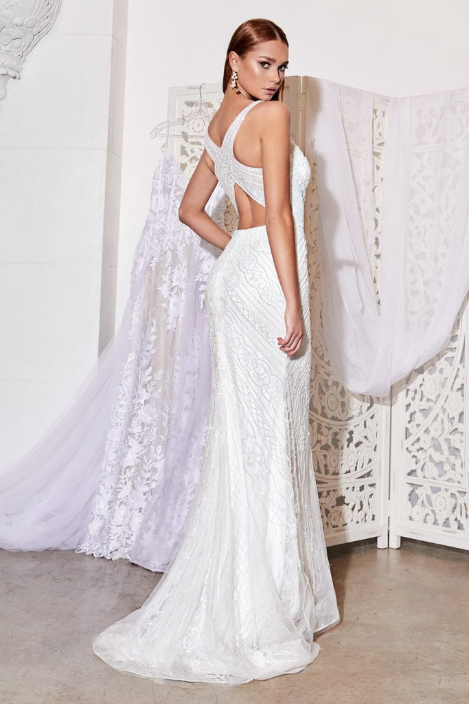 Cinderella DIvine EW115 Long Fitted Beaded Bridal Gown Beaded Details And Criss Cross Back