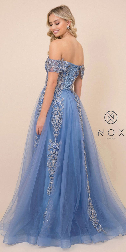 Appliqued Off-Shoulder Prom Ball Gown Cobalt Blue