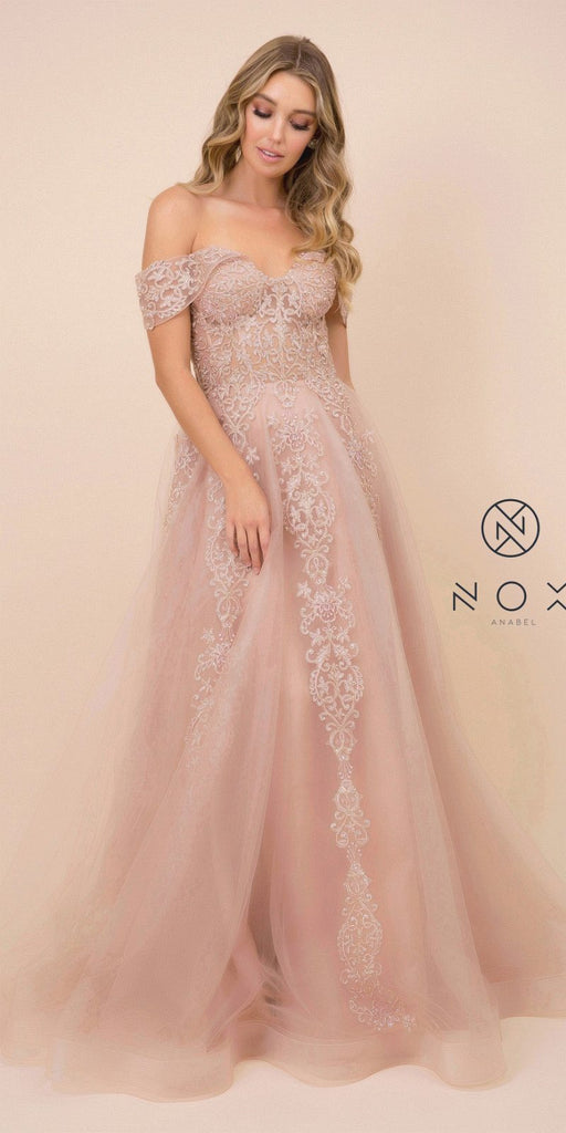 Appliqued Off-Shoulder Prom Ball Gown Rose Gold