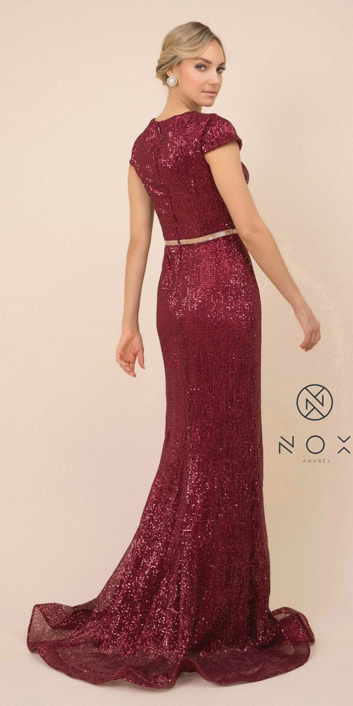 Sequins Burgundy Long Prom Dress with Short Sleeves