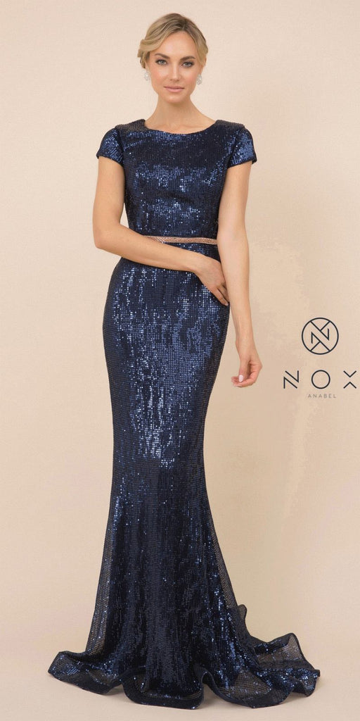 Sequins Navy Blue Long Prom Dress with Short Sleeves