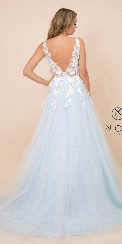 Blue V-Neck and Back Prom Ball Gown with Floral Appliques