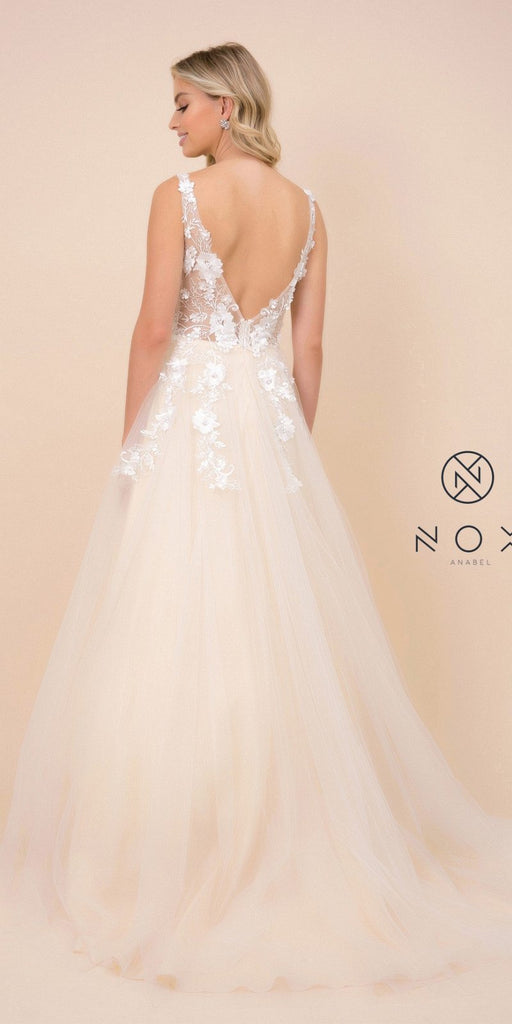 Champagne V-Neck and Back Prom Ball Gown with Floral Appliques