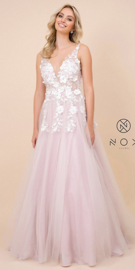 Light Mauve V-Neck and Back Prom Ball Gown with Floral Appliques