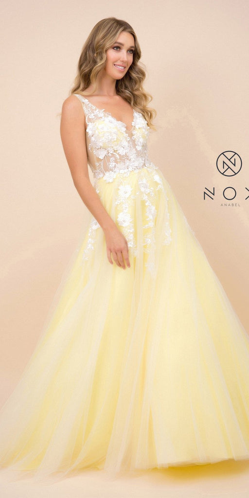 Yellow V-Neck and Back Prom Ball Gown with Floral Appliques