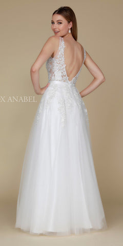 Tulle A-line Long Prom Dress with Appliqued Illusion Bodice Off White Back View