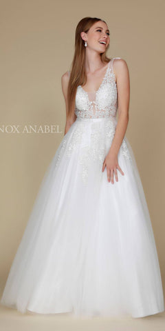Tulle A-line Long Prom Dress with Appliqued Illusion Bodice Off White