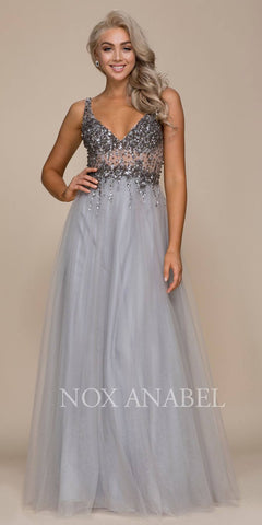 V-Neckline Illusion Embellished Bodice A-line Long Prom Dress Silver