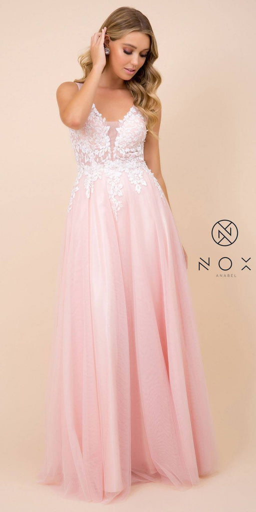 Nox Anabel G048 Blush Appliqued Bodice A-Line Evening Gown Cut Out Back
