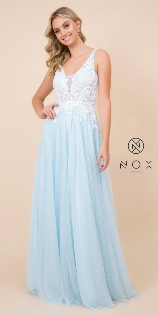 Nox Anabel G048 Blue Appliqued Bodice A-Line Evening Gown Cut Out Back