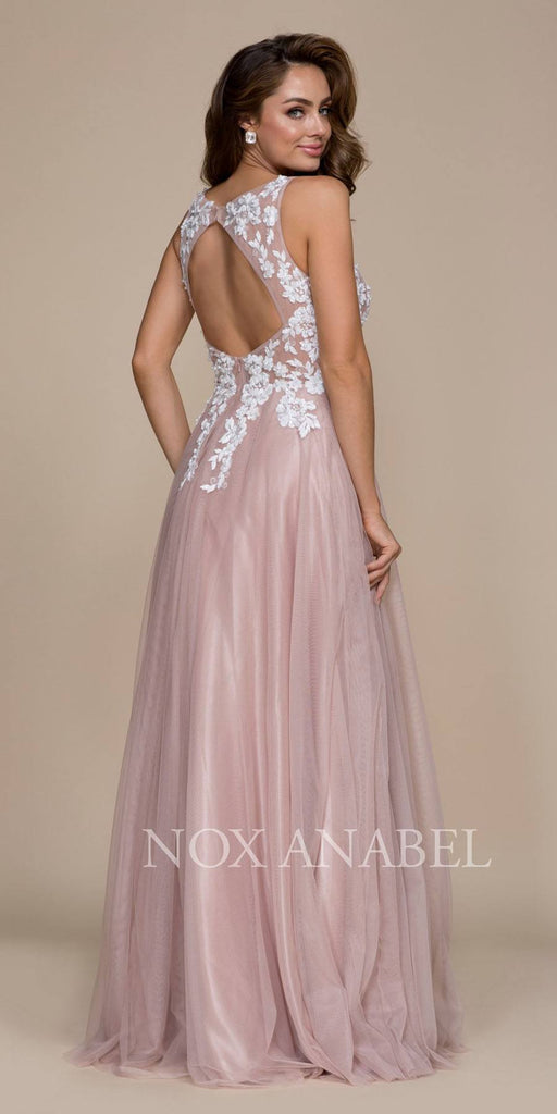 Nox Anabel G048 Tan Appliqued Bodice A-Line Evening Gown Cut Out Back