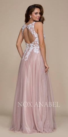 Tan Appliqued Bodice A-Line Evening Gown Cut Out Back