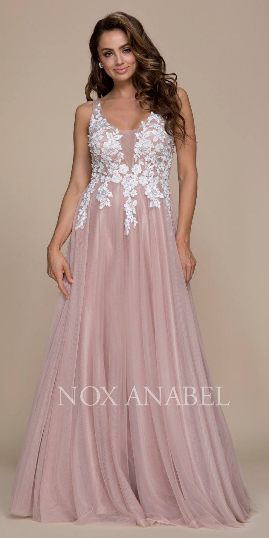 Tan Appliqued Bodice Floor Length Formal Dress Cut Out Back ...