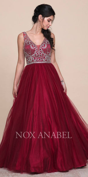 Burgundy Beaded Ball Gown V-Shape Open Back