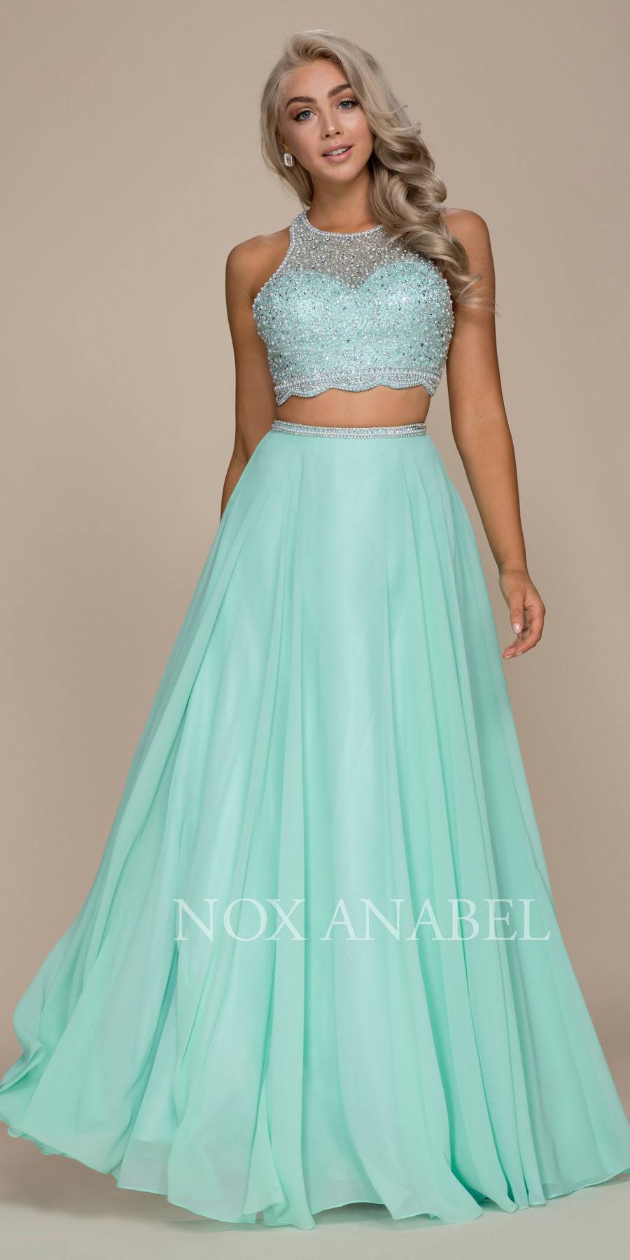 c78fe6a330a Mint Green Two-Piece Long Prom Dress Illusion Beaded Crop Top. Tap to expand