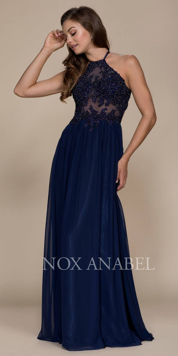 d0677eb2ac63 Halter Appliqued Bodice Long Prom Dress Cut Out Back Navy Blue