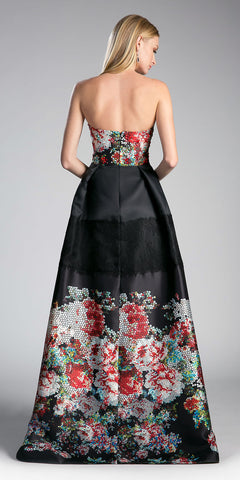 Cinderella Divine G1031 Black Printed Strapless Sweetheart Prom Gown with Pockets Back View