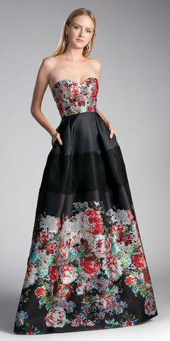 Cinderella Divine G1031 Black Printed Strapless Sweetheart Prom Gown with Pockets