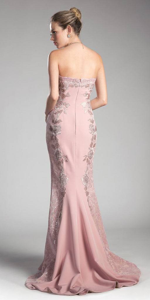 Pink Strapless Prom Gown with Lace and Appliques