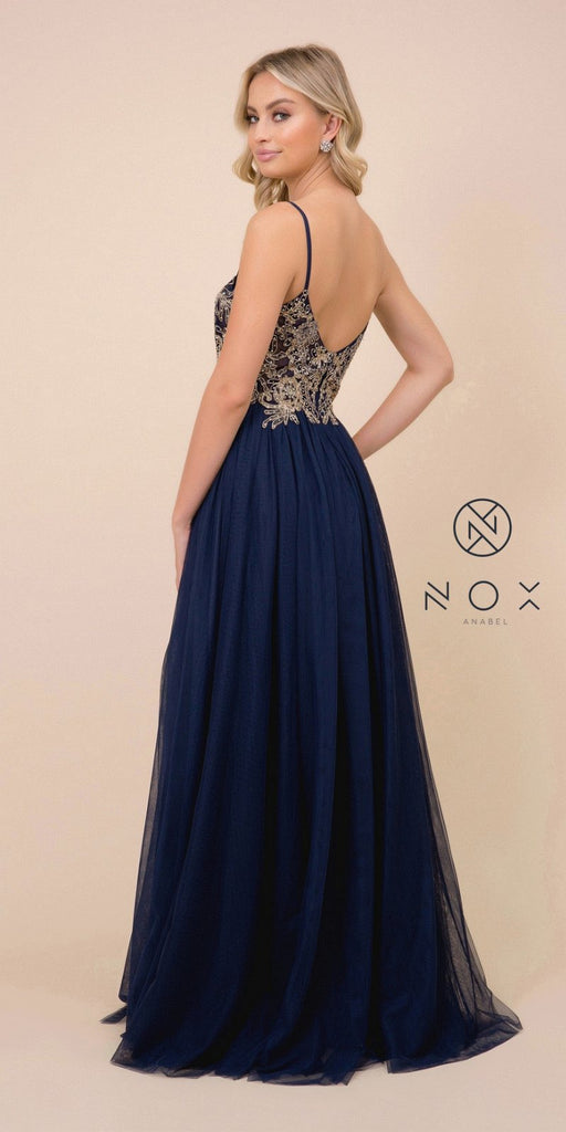 Navy Blue Appliqued Long Prom Dress with Spaghetti Straps