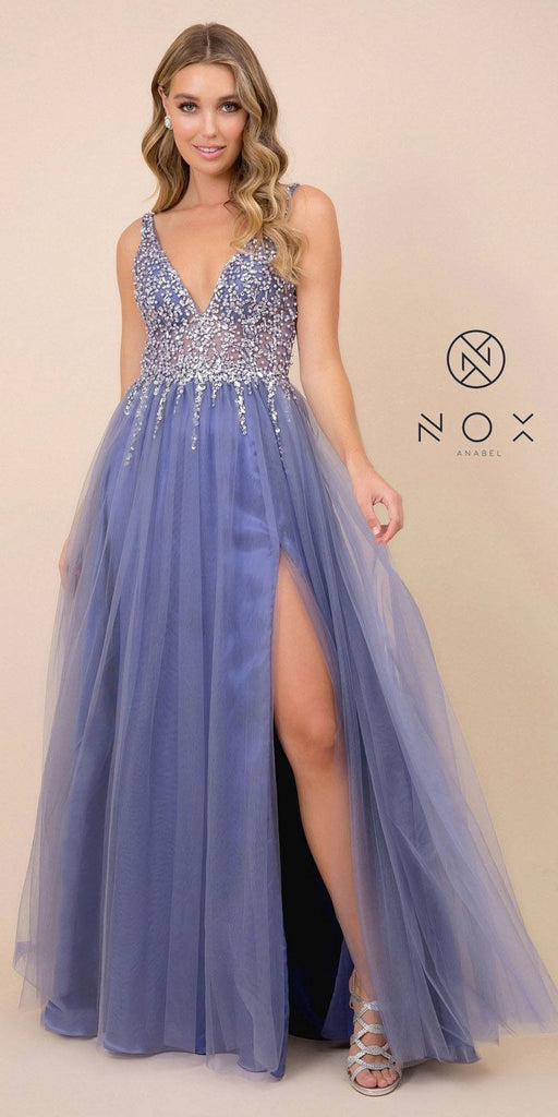 Embellished Long Periwinkle Prom Dress V-Neck with Slit