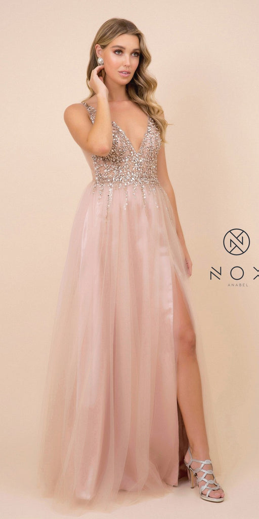 Embellished Long Tan Prom Dress V-Neck with Slit