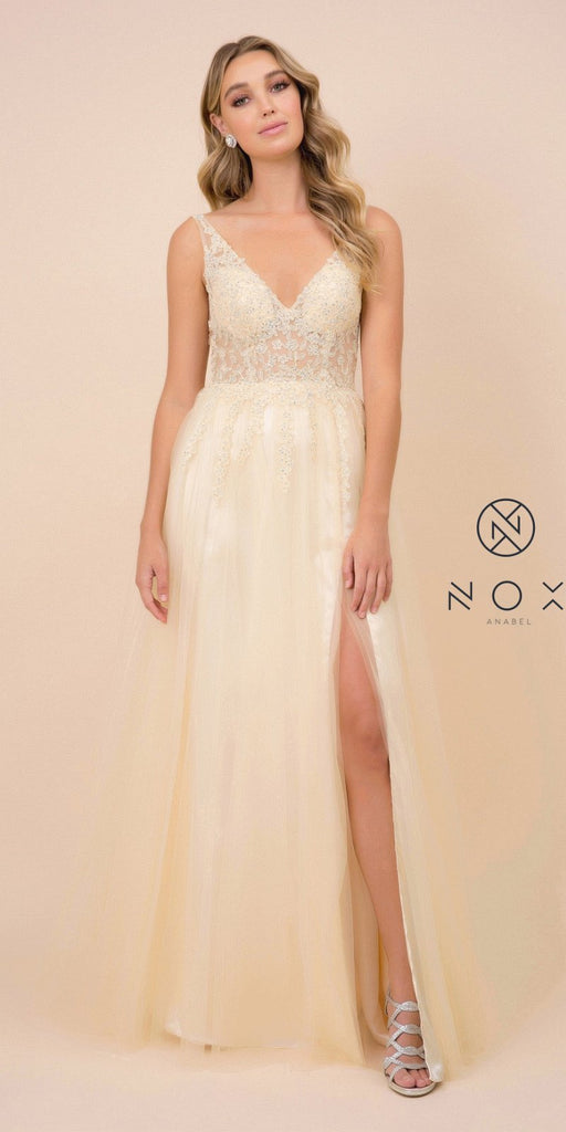 V-Neck and Back Appliqued Long Prom Dress Pale Yellow