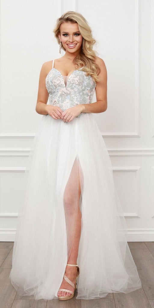 Nox Anabel G445 Sleeveless V-Neck Lace Applique Top Tulle A-Line Gown