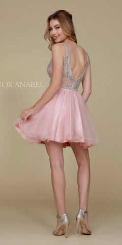 Sparkly Blush Homecoming Dress Short A Line V Neckline Back View