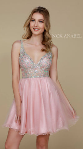 Sparkly Blush Homecoming Dress Short A Line V Neckline