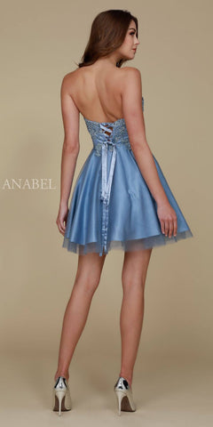 Homecoming Dress Short Sky Blue A Line Strapless Sweetheart Back View