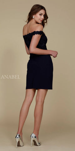 Cocktail Homecoming Dress Navy Blue Off the Shoulder Strap Back View