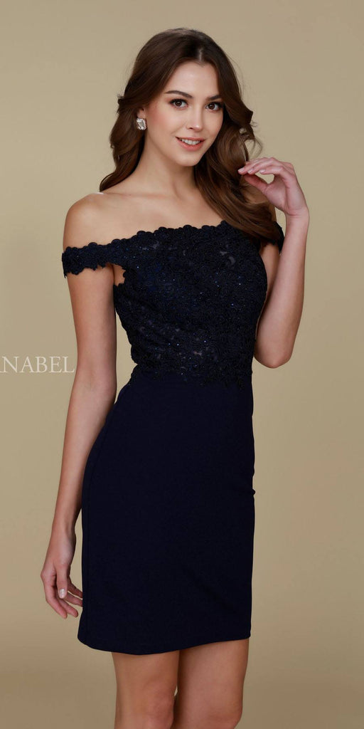 Cocktail Homecoming Dress Navy Blue Off the Shoulder Strap