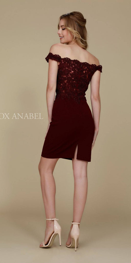 Cocktail Homecoming Dress Burgundy Off the Shoulder Strap Back View