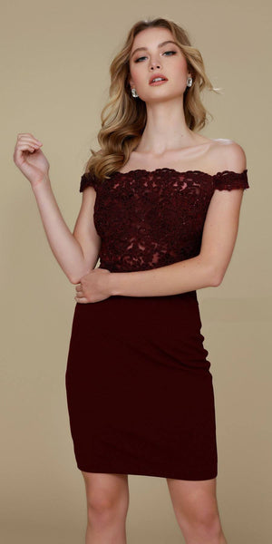 Cocktail Homecoming Dress Burgundy Off the Shoulder Strap