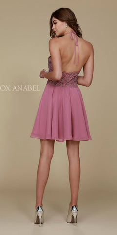 Mauve Homecoming Dress Short A Line Halter Top Lace Back View