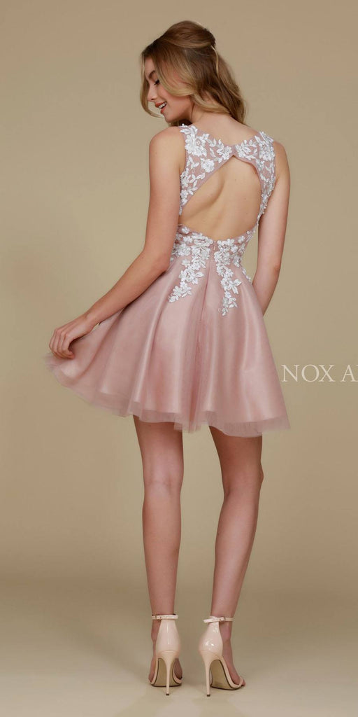 Short Flower Design Homecoming Dress Tan V Neck Cut Out Back View