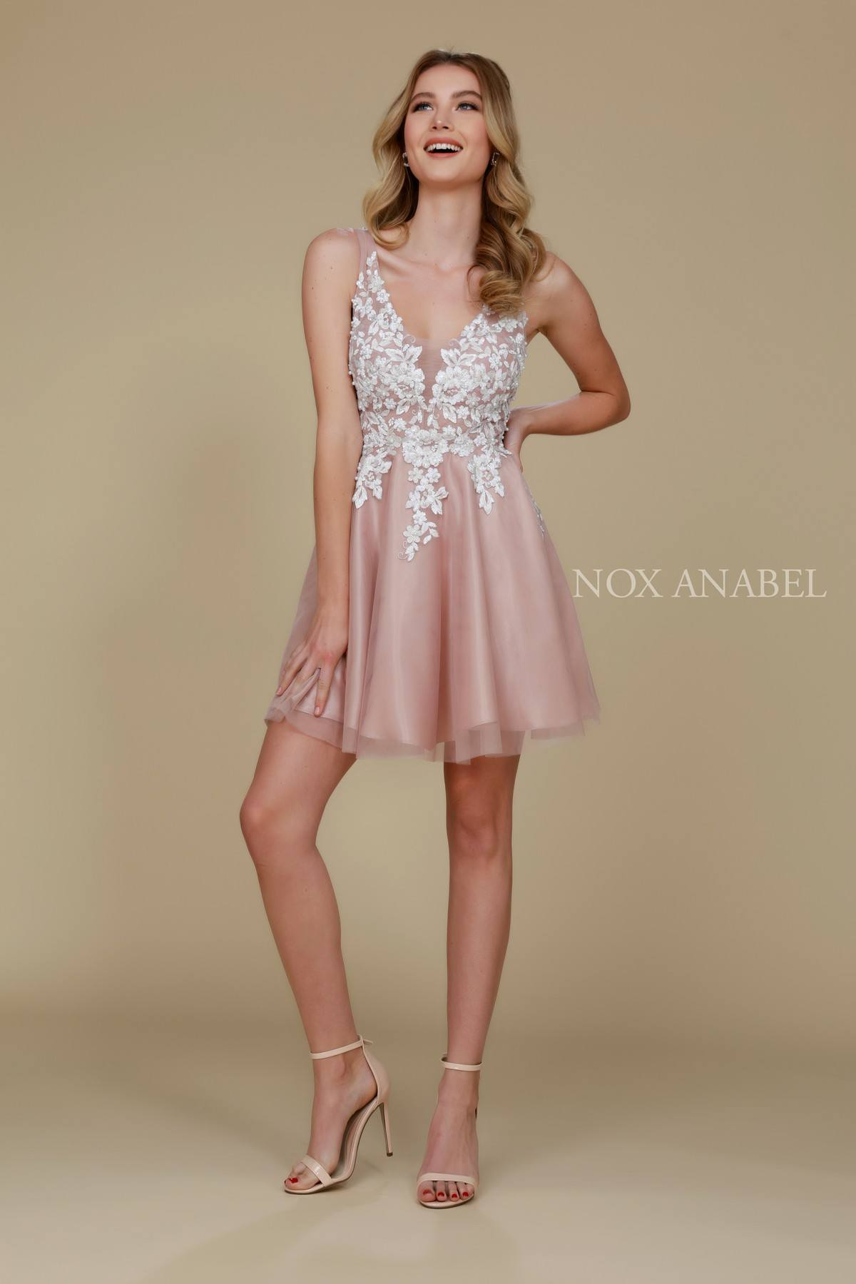 Tan Short Homecoming Dresses with Straps