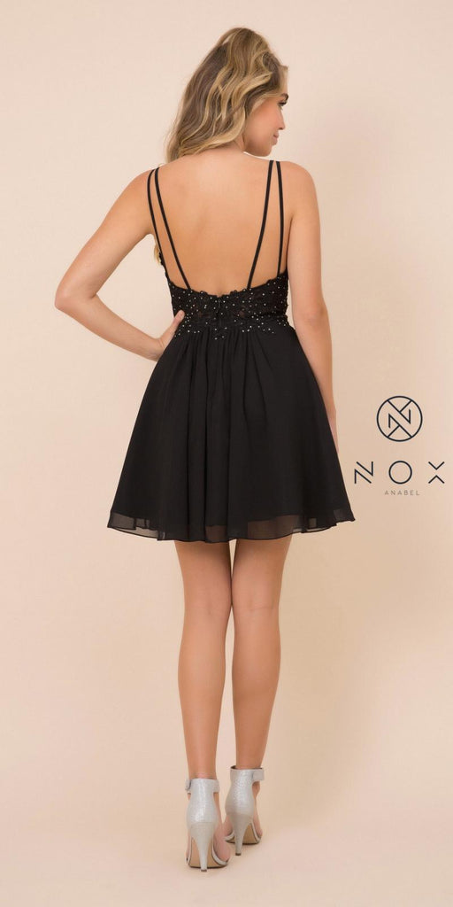 V-Neck Appliqued Homecoming Short Dress Black