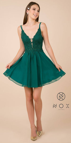 V-Neck Appliqued Homecoming Short Dress Green