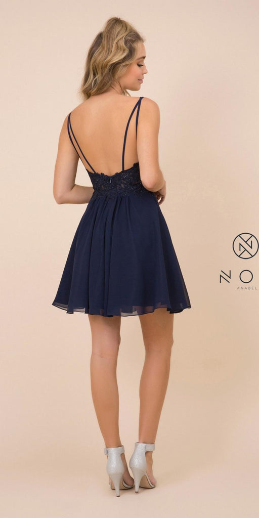 V-Neck Appliqued Homecoming Short Dress Navy Blue