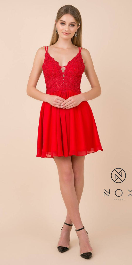 V-Neck Appliqued Homecoming Short Dress Red