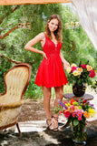 Nox Anabel G679 Red Short Dress V-Neck Appliqued A-Line Chiffon