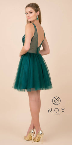 Rhinestone-Embellished Green Homecoming Short Dress