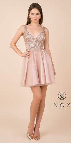 Rhinestone-Embellished Tan Homecoming Short Dress