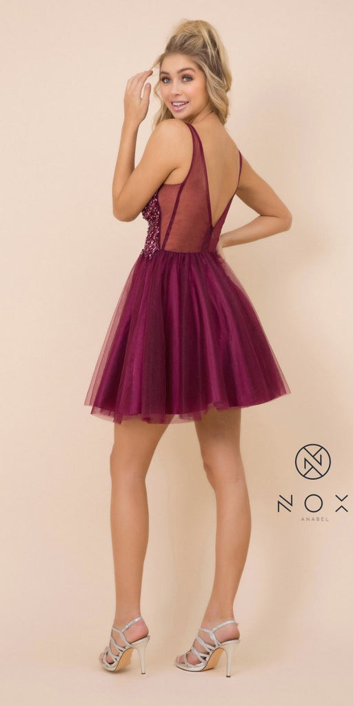 Nox Anabel G694 Rhinestone-Embellished Wine Homecoming Short Dress