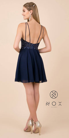 Embellished A-Line Short Homecoming Dress Navy Blue