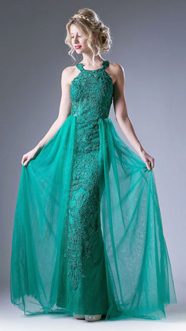 Lace Appliqued Long Prom Dress with Tulle Overlay Green