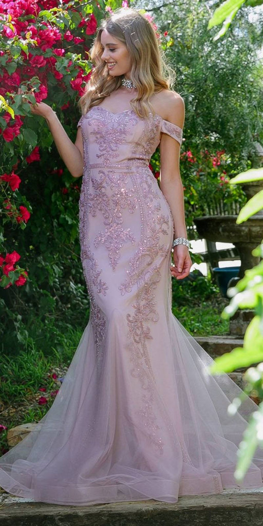 Nox Anabel H294 Long Formal Mermaid Gown Mauve Off-Shoulder Beaded