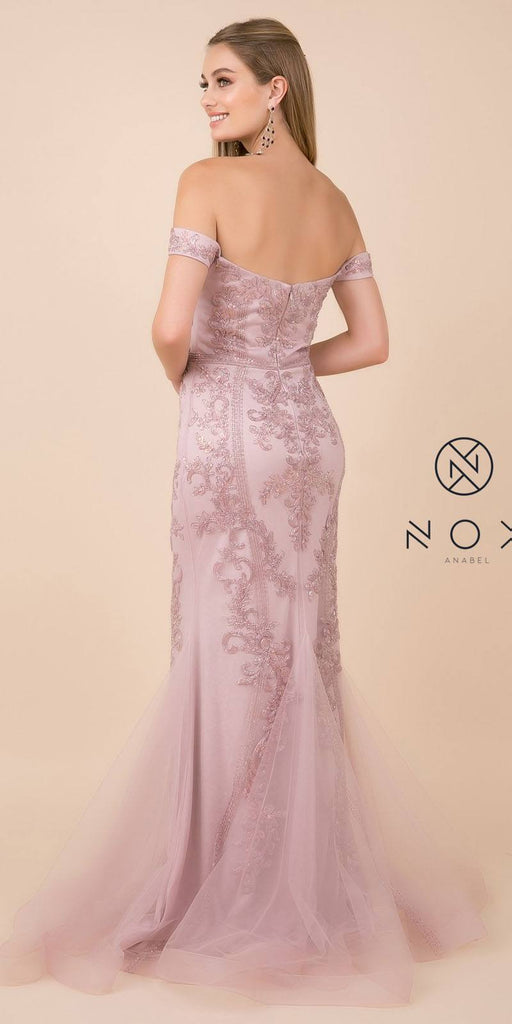 Off-Shoulder Beaded Long Prom Dress Light Mauve